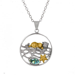 [NP12809-ABL-G] Mother Otter with Golden Baby Oxidized Silver Pendant with Marquise Abalon shell and Gold Starfish