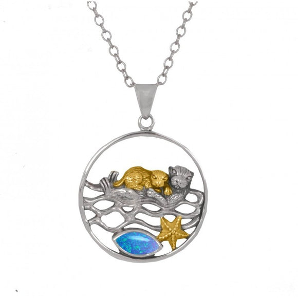 [NP12809-BLOP-G] Mother Otter with Golden Baby Oxidized Silver Pendant with Simulated Blue Opal and Gold Starfish