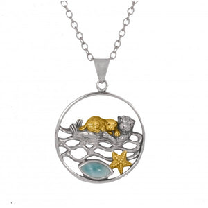 [NP12809-LAR-G] Mother Otter with Golden Baby Oxidized Silver Pendant with Marquise Larimar and Gold Starfish