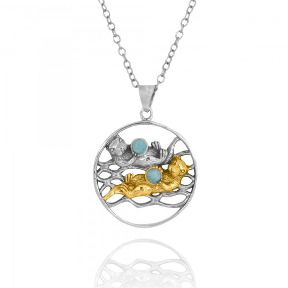 [NP12810-LAR-G] Gold and Silver Otters Holding Round Larimar Oxidized Silver Pendant