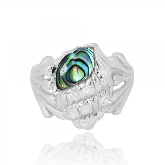 [NRB7220-ABL-WHCZ] Sterling Silver Seashell Ring with Abalon shell and White CZ