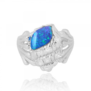 [NRB6919-BLOP-WHCZ] Sterling Silver Conch Shell Ring with Simulated Blue Opal