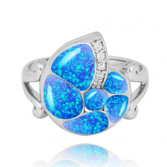 [NRB7220-BLOP-WHCZ] Sterling Silver Seashell Ring with Simulated Blue Opal and White CZ
