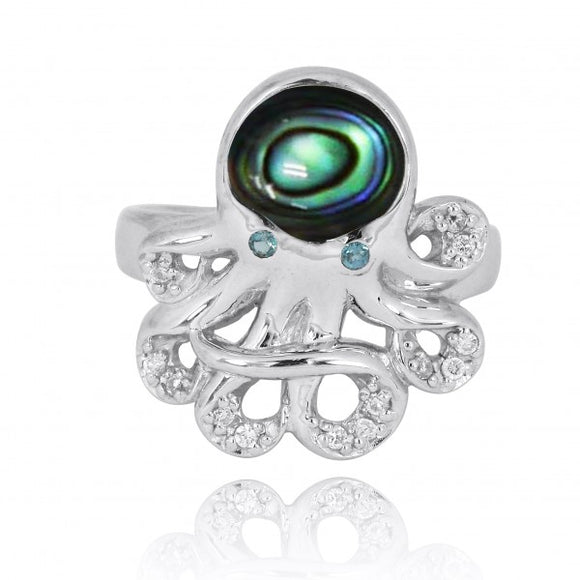 [NRB7221-ABL-LBLT-WHCZ] Sterling Silver Octopus Ring with Abalon shell, London Blue Topaz and White CZ