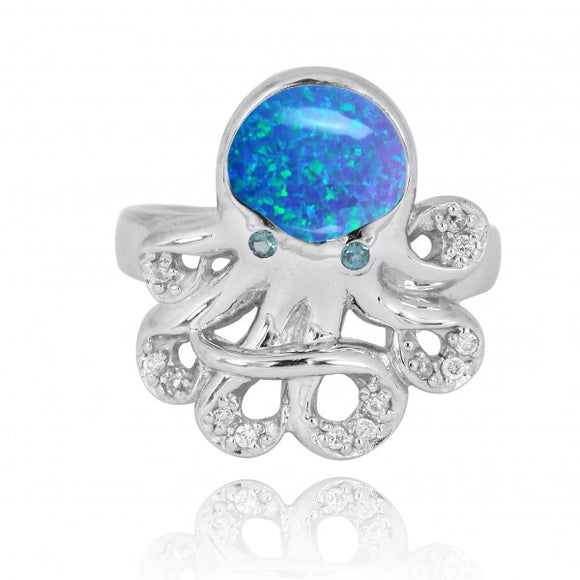 [NRB7221-BLOP-LBLT-WHCZ] Sterling Silver Octopus Ring with Simulated Blue Opal, London Blue Topaz and White CZ