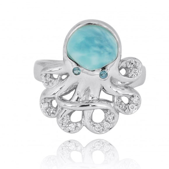 [NRB7221-LAR-LBLT-WHCZ] Sterling Silver Octopus with Larimar and London Blue Topaz Ring