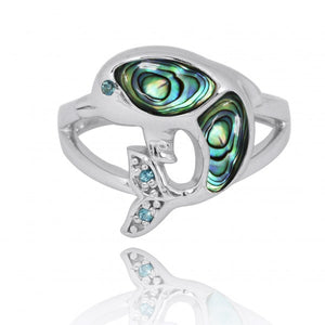 [NRB7222-ABL-LBLT-SWBLT] Sterling Silver Dolphin Ring with Abalon shell, London Blue Topaz and Swiss Blue Topaz