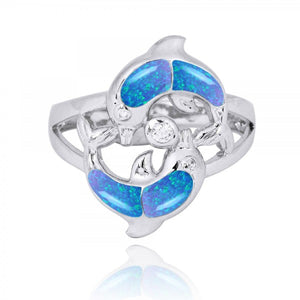 [NRB7223-BLOP-WHCZ] Playing Sterling Silver Dolphins Ring with Simulated Blue Opal and White CZ