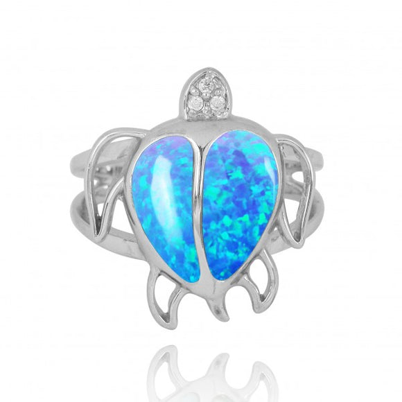 [NRB7783-BLOP-WHCZ] Sterling Silver Turtle Ring with Simulated Blue Opal and White CZ