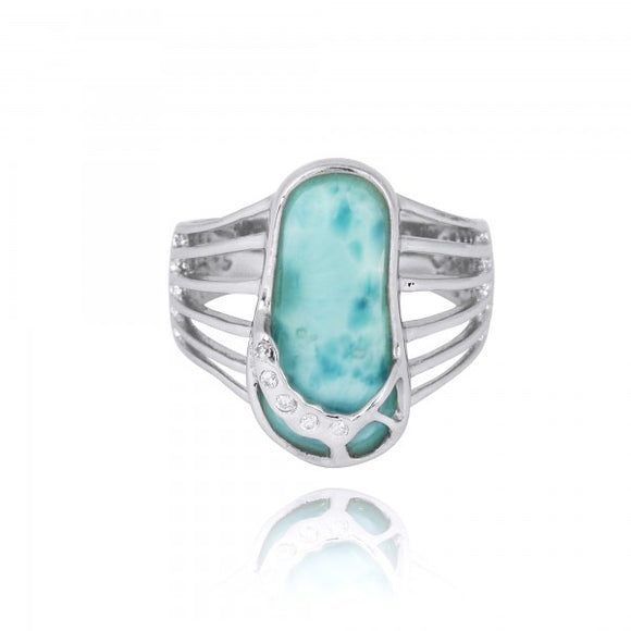 [NRB7784-LAR-WHCZ] Larimar Sandal Sterling Silver Ring with White CZ