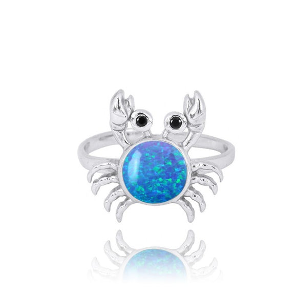 [NRB7822-BLOP-BKSP] Sterling Silver Crab Ring with Simulated Blue Opal and Black Spinel
