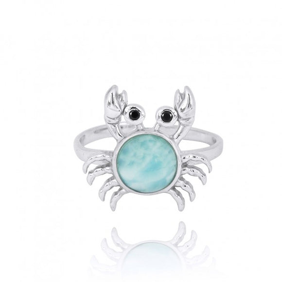 [NRB7822-LAR-BKSP] Sterling Silver Crab Ring with Larimar and Black Spinel.