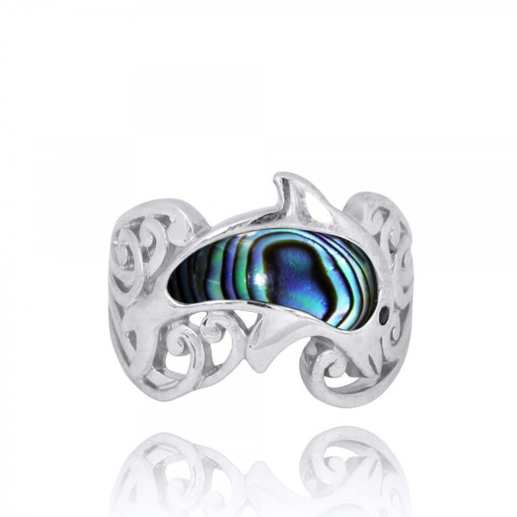 [NRB8362-ABL-BKSP] Sterling Silver Dolphin Ring with Abalon shell and Black Spinel
