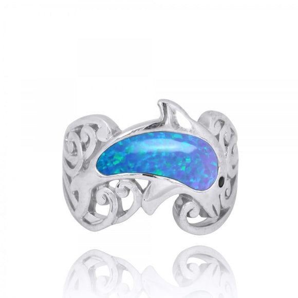 [NRB8362-BLOP-BKSP] Sterling Silver Dolphin Ring with Simulated Blue Opal and Black Spinel