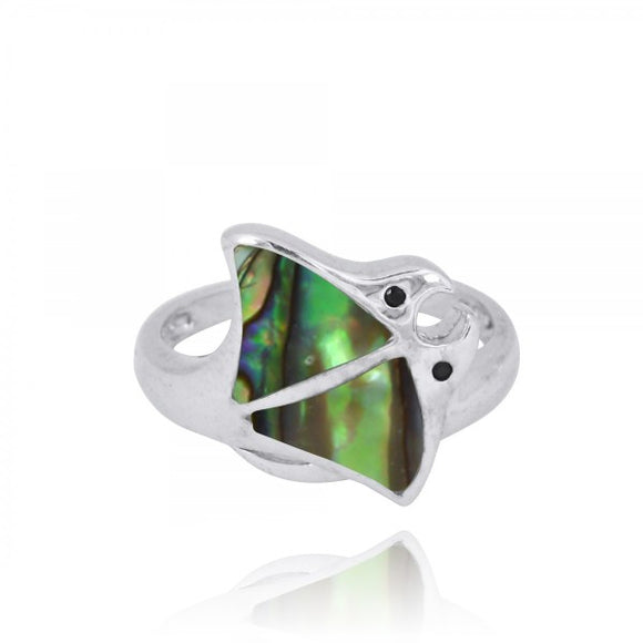 [NRB8363-ABL-BKSP] Sterling Silver Stingray Ring with Abalon shell and Black Spinel