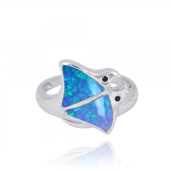 [NRB8363-BLOP-BKSP] Sterling Silver Stingray Ring with Simulated Blue Opal and Black Spinel