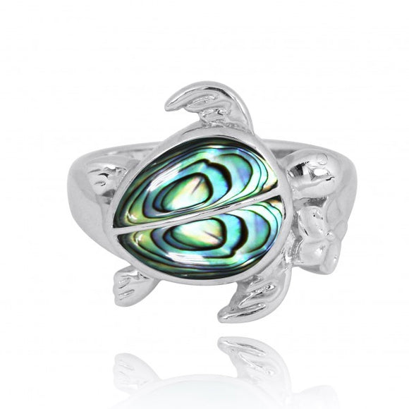 [NRB8366-ABL] Sterling Silver Turtle Ring with 2 Abalon shell Stones