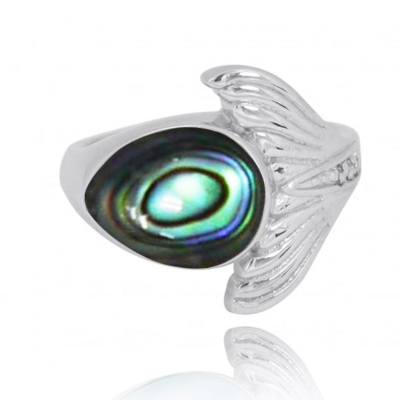 [NRB8368-ABL-WHCZ] Sterling Silver Whale Tail Ring with Abalon shell and White CZ