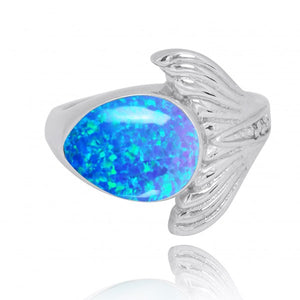 [NRB8368-BLOP-WHCZ] Sterling Silver Whale Tail Ring with Simulated Blue Opal and White CZ