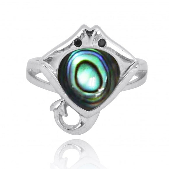 [NRB8369-ABL-BKSP] Sterling Silver Manta Ray Ring with Abalon shell and Black Spinel