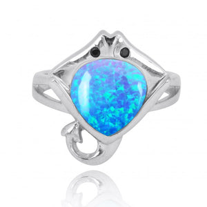 [NRB8369-BLOP-BKSP] Sterling Silver Manta Ray Ring with Simulated Blue Opal and Black Spinel