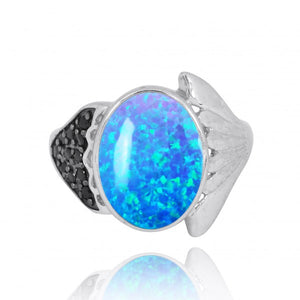 [NRB8370-BLOP-BKSP] Sterling Silver Fin Ring with Simulated Blue Opal and Black Spinel