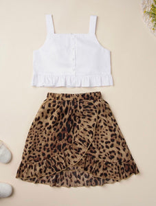 White Cami Top & Leopard Skirt