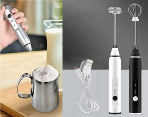 Rechargeable Handheld Electric Foam Maker - Three Adjustable Speed & Double Stainless Steel Whisks