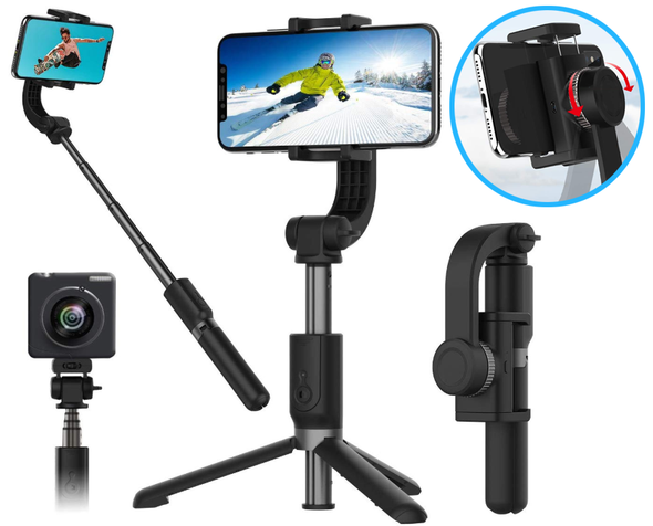 3 In 1 Bluetooth Selfie Stick Tripod - Single-Axis Gimbal Stabilizer & Time-Lapse Object Tracking