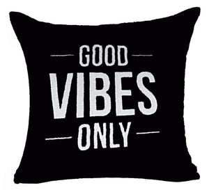 Motto Good Vibes Only Throw Pillow Case Cushion