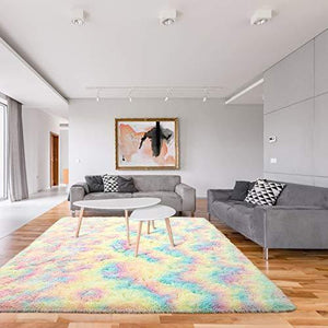 Fluffy Velvet Rainbow Area Rug