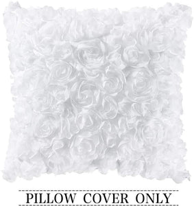 Rose Flower Pillow Cover Solid Square