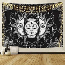 Load image into Gallery viewer, Burning Sun with Stars Psychedelic Tapestry