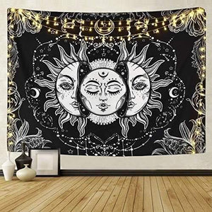 Burning Sun with Stars Psychedelic Tapestry