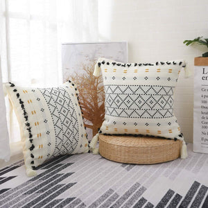 Boho Tufted and Tasseled Throw Pillow
