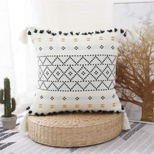 Load image into Gallery viewer, Boho Tufted and Tasseled Throw Pillow