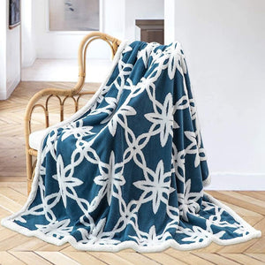 Reversible Sherpa Fleece Throw Blanket