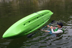 Flipping an upturned fishing kayak