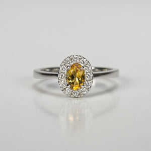 14K White Gold Citrine and Diamond Ring