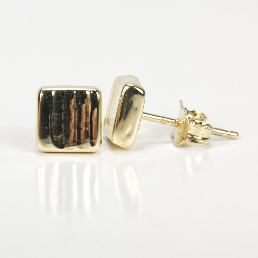 14K Yellow Gold Square Textured Stud Earrings
