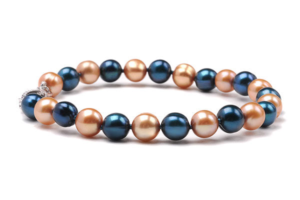 7.5″ Navy Blue and Gold Freshwater Pearl Bracelet