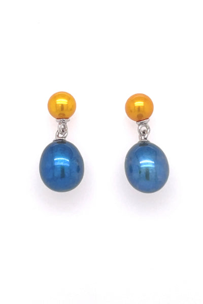 Navy Blue and Gold Freshwater Pearl Earrings