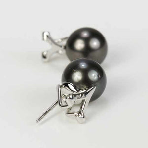 18K White Gold Omega Back Tahitian Black Pearl Earrings.