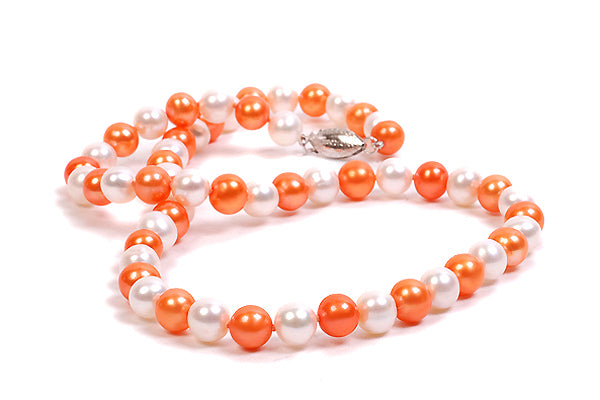 18″ Orange and White Freshwater Pearl Necklace