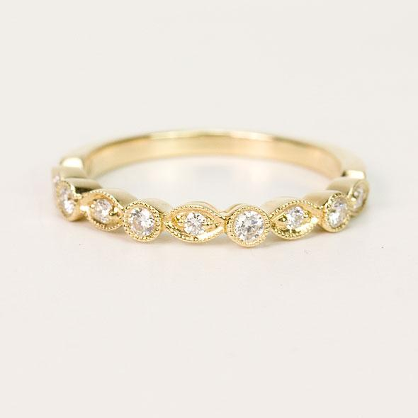14K Yellow Gold Round Diamond Fashion Band