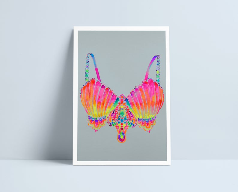 Mermaid bra A4 print by Niki Pilkingon