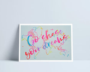 'Dilyn Dy Freuddwydion' / Go Chase Your Dreams A4 print by Niki Pilkington