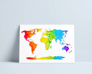 Rainbow World Map - A4 Print by Niki Pilkington
