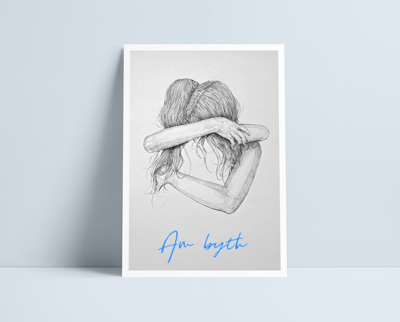 Girls Hugging (All variations) - A4 Prints by Niki Pilkington