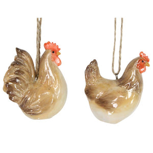 Ceramic Hen/Cockerel Decoration by Gisela Graham
